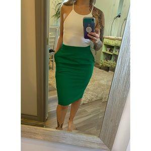 Vintage high waist shamrock green 100% wool skirt